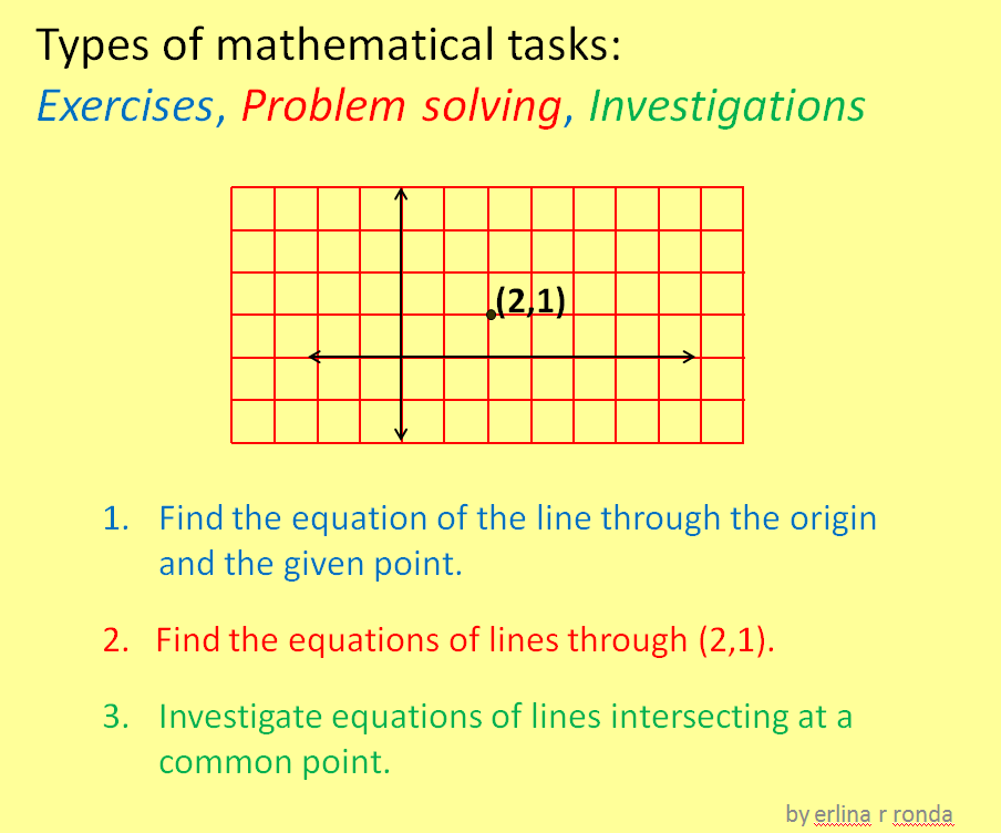 Exercises, Problems, and Math Investigations
